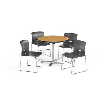 OFM 36 Round Laminate MultiPurpose FlipTop Table & 4 Chairs, Table/Dark Gray Chair (PKGBRK0700014)