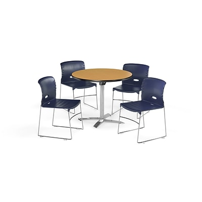 OFM 36 Square Laminate MultiPurpose FlipTop Table & 4 Chairs, Oak Table/Navy Chair (PKGBRK0760016)