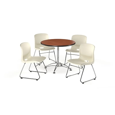 OFM 42 Square Laminate Multi-Purpose Table w/4 Chairs, Cherry Table/Ivory Chair (PKG-BRK-111-0005)