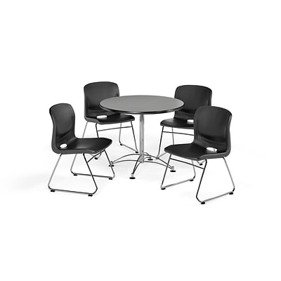 OFM 36 Round Laminate MultiPurpose Table & 4 Chairs, Gray Nebula Table/Black Chair PKG-BRK-093-0006