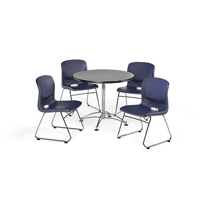 OFM 36 Round Laminate MultiPurpose Table & 4 Chairs, Gray Nebula Table/Navy Chair PKG-BRK-093-0008
