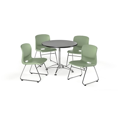 OFM 42 Square Laminate MultiPurpose Table & 4 Chairs, Gray Nebula Table/Olive Chair (PKGBRK1110009)