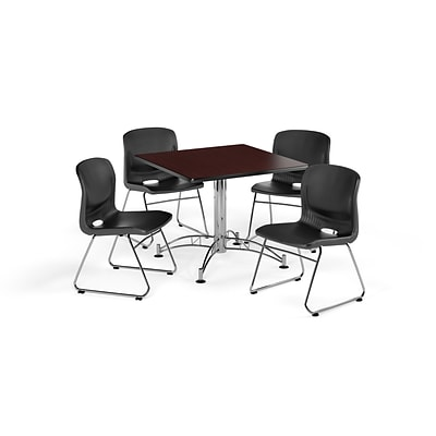 OFM  36 Round Laminate MultiPurpose Table w/4 Chairs, Mahogany Table/Black Chair (PKG-BRK-093-0011)