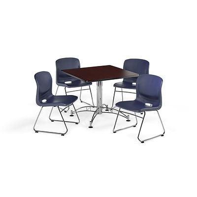 OFM  36 Round Laminate Multi-Purpose Table w/4 Chairs, Mahogany Table/Navy Chair (PKG-BRK-093-0013)