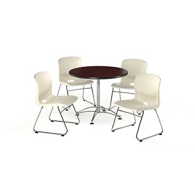 OFM 36 Round Laminate Multi-Purpose Table w/4 Chairs, Mahogany Table/Ivory Chair (PKG-BRK-093-0015)
