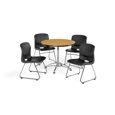 OFM 42 Round Laminate Multi-Purpose Table with 4 Chairs, Oak Table/Black Chair (PKG-BRK-105-0016)