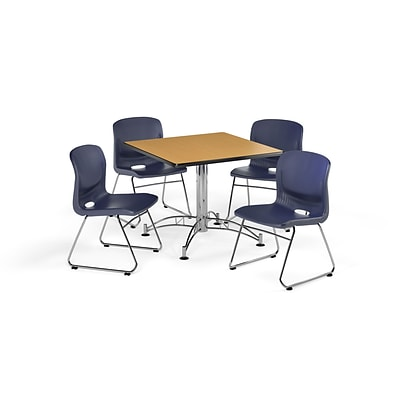 OFM 36 Round Laminate Multi-Purpose Table with 4 Chairs, Oak Table/Navy Chair (PKG-BRK-093-0018)