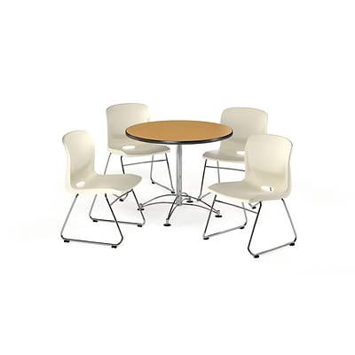 OFM 36 Round Laminate Multi-Purpose Table with 4 Chairs, Oak Table/Ivory Chair (PKG-BRK-093-0020)