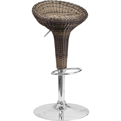 Flash Furniture Contemporary Wicker Adjustable Height Barstool with Chrome Base (DS711)