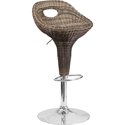 Flash Furniture Contemporary Wicker Adjustable-Height Barstool with Chrome Base (DS713)
