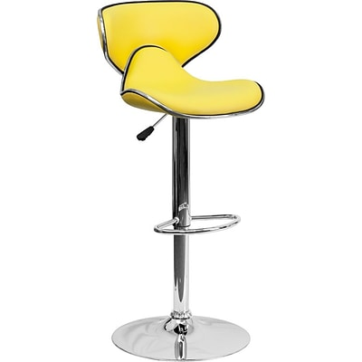 Flash Furniture Contemporary Cozy Mid-Back Vinyl Adj Height Barstool-Chrome Base, Yellow (DS815YEL)
