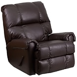 Contemp Chocolate Leather Rocker Recliner