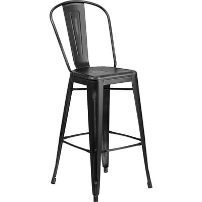 Flash Furniture 30 High Distressed Black Metal Indoor Barstool with Back (ET353430BK)