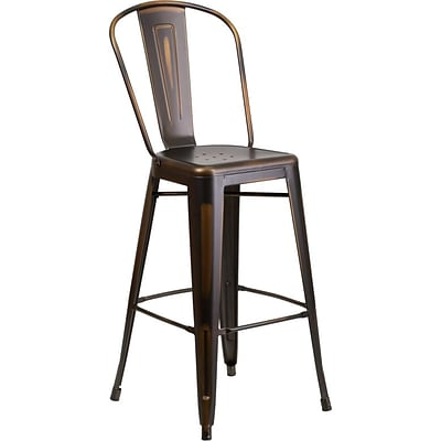 Flash Furniture 30 High Distressed Copper Metal Indoor Barstool with Back (ET353430COP)