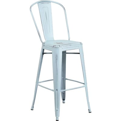 Flash Furniture 30 High Distressed Dream Blue Metal Indoor Barstool with Back (ET353430DB)