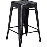 Backless Metal Indoor Counter Stool Black