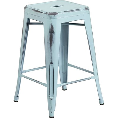 Flash Furniture 24 Backless Metal Indoor Counter-Height Stool; Distress Dream Blue (ETBT350324DB)