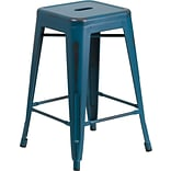 Flash Furniture 24 High Backless Distressed Metal Indoor Counter-Height Stool, Blue (ETBT350324KB)