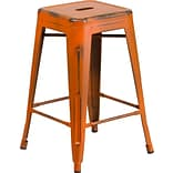Backless Orange Metal Indoor Counter Stool