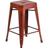 Backless Metal Indoor Counter Stool Red