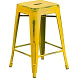 Backless Metal Indoor Counter Stool Yellow
