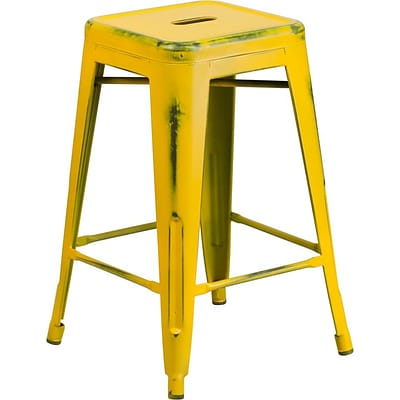 Flash Furniture 24 High Backless Distress Metal Indoor Counter-Height Stool, Yellow (ETBT350324YL)