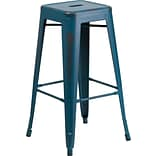30 Backless Metal Indoor Barstool Blue