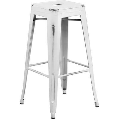Flash Furniture 30 High Backless Distressed White Metal Indoor Barstool (ETBT350330)