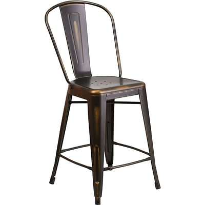Flash Furniture 24 High Distressed Metal Indoor Counter Height Stool w/Back; Copper (ET353424COP)