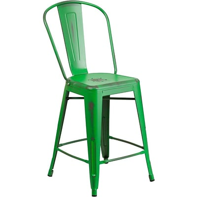 Flash Furniture 24 High Distressed Metal Indoor Counter-Height Stool with Back; Green (ET353424GN)