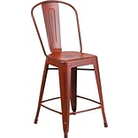 Indoor Counter Stool w/Back Distress Red