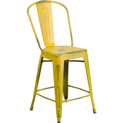 Flash Furniture 24 High Distressed Metal Indoor Counter-Height Stool w/Back, Yellow (ET343424YL)