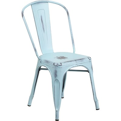 Flash Furniture Metal Indoor Stackable Chair, Distressed Dream Blue (ET3534DB)