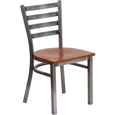 Flash Furniture HERCULES Ladder Back Metal Restaurant Chair; Cherry Wood Seat (XUDG694CLADCHYW)