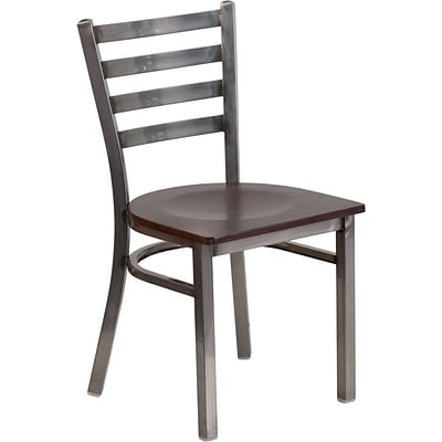 Flash Furniture HERCULES Ladder Back Metal Restaurant Chair; Walnut Wood Seat (XUDG694CLADWALW)