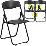 Heavy Duty Plastic Fold Chair w/Ganging Blk