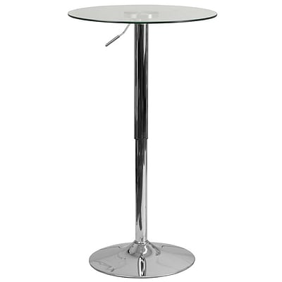Flash Furniture 23.5 Round Adjustable-Height Glass Table (Adjustable Range 33.5 to 41) (CH5)