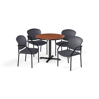 OFM  36 Round Laminate MultiPurpose XSeries Table & 4 Chairs, Cherry Table/Gray Chair PKGBRK1430001