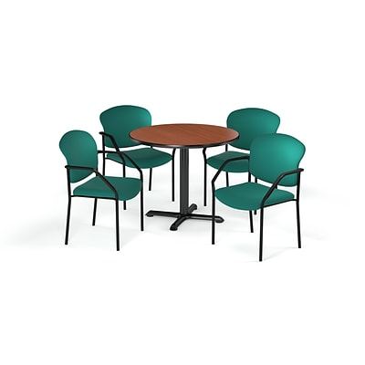 OFM  36 Round Laminate MultiPurpose XSeries Table & 4 Chairs, Cherry Table/Teal Chair PKGBRK1430002