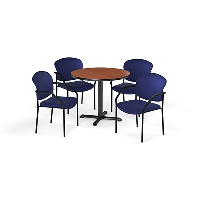 OFM 36 Round Laminate MultiPurpose XSeries Table & 4 Chairs, Cherry Table/Navy Chair PKGBRK1430004