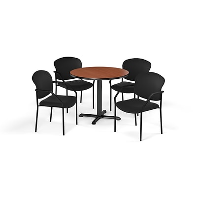OFM  36 Round Laminate MultiPurpose XSeries Table & 4 Chairs, Cherry/Black Chair PKGBRK1430005