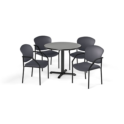 OFM 42 Round Laminate MultiPurpose XSeries Table & 4 Chairs, Gray Table/Gray Chair (PKGBRK1550006)