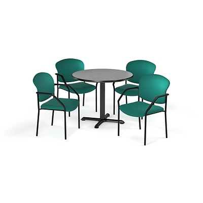 OFM  36 Round Laminate MultiPurpose XSeries Table & 4 Chairs, Gray Table/Teal Chair (PKGBRK1430007)