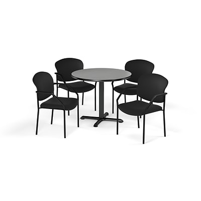 OFM  42 Round Laminate MultiPurpose XSeries Table & 4 Chairs, Gray Table/Black Chair PKGBRK1550010