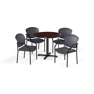 OFM  42 Round Laminate MultiPurpose XSeries Table & 4 Chairs, Mahogany/Gray Chair PKGBRK1550011