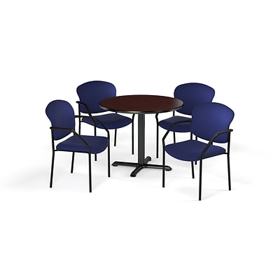 OFM  36 Round Laminate MultiPurpose XSeries Table & 4 Chairs, Mahogany/Navy Chair PKGBRK1430014