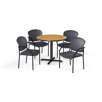 OFM 42 Round Laminate MultiPurpose XSeries Table & 4 Chairs, Oak Table/Gray Chair (PKGBRK1550016)
