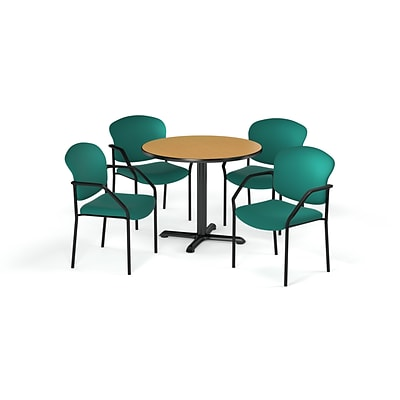 OFM  36 Round Laminate MultiPurpose XSeries Table & 4 Chairs, Oak Table/Teal Chair (PKGBRK1430017)