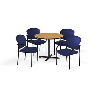OFM  42 Round Laminate MultiPurpose XSeries Table & 4 Chairs, Oak Table/Navy Chair (PKGBRK1550019)