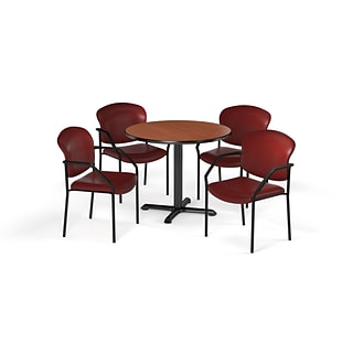 OFM 42 Round Laminate MultiPurpose XSeries Table & 4 Chairs, Cherry Table/Teal Chair PKGBRK1560002